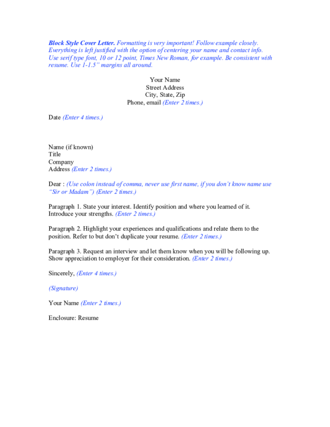 Specific Cover Letters