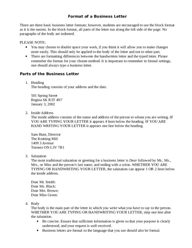 Format of a Business Letter - Edit, Fill, Sign Online  Handypdf
