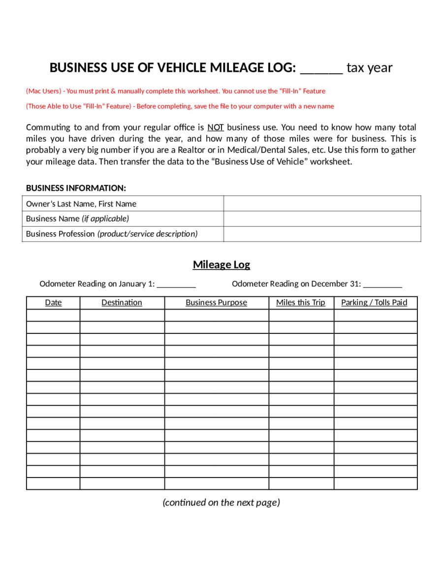 2018 Mileage Log - Fillable, Printable PDF & Forms | Handypdf