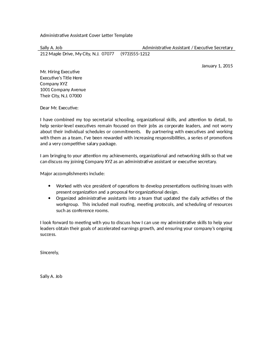 administrative assistant cover letter template administrative