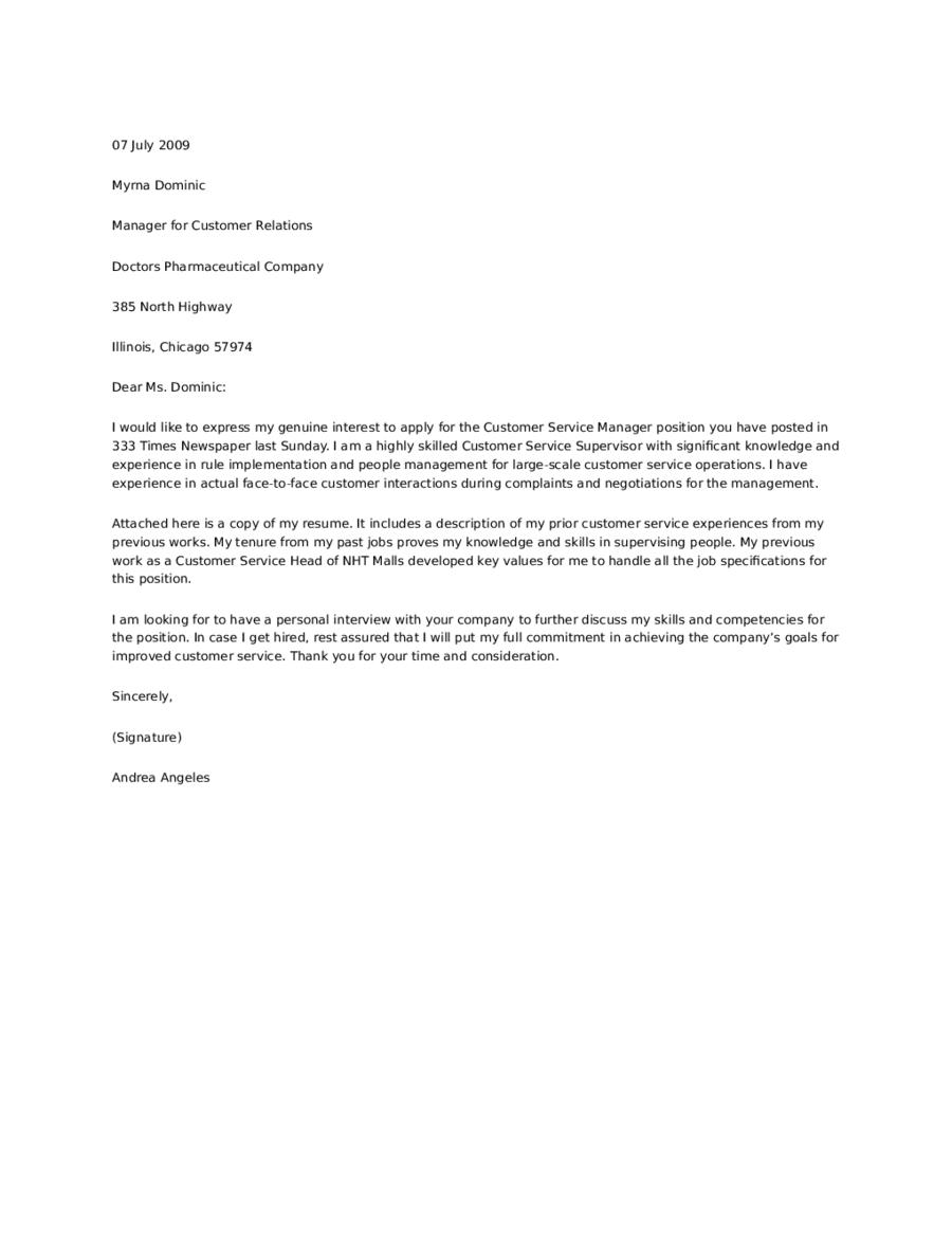 Customer relations officer cover letter