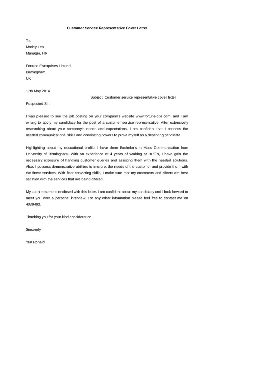 2019 Customer Service Cover Letter  Fillable Printable PDF  Forms  Handypdf