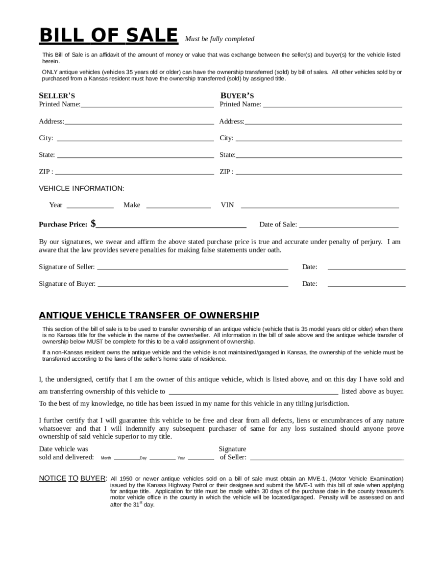 California Motor Vehicle Bill Sale Form