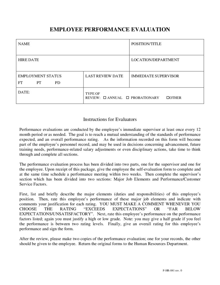 Employee Evaluation Example