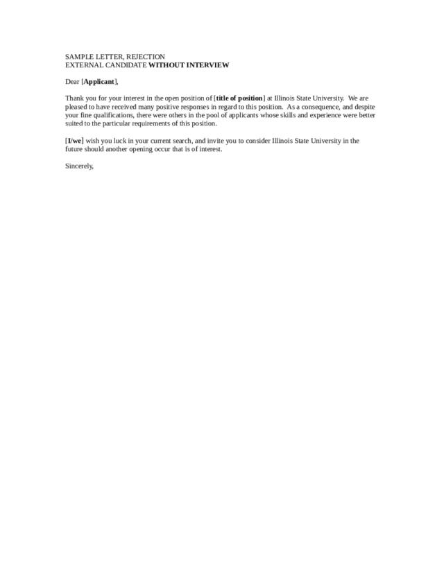 28 Job Rejection Letter - Fillable, Printable PDF & Forms  Handypdf