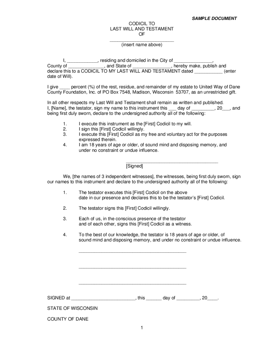 Last Will and Testament Form Sample - Edit, Fill, Sign Online   Handypdf