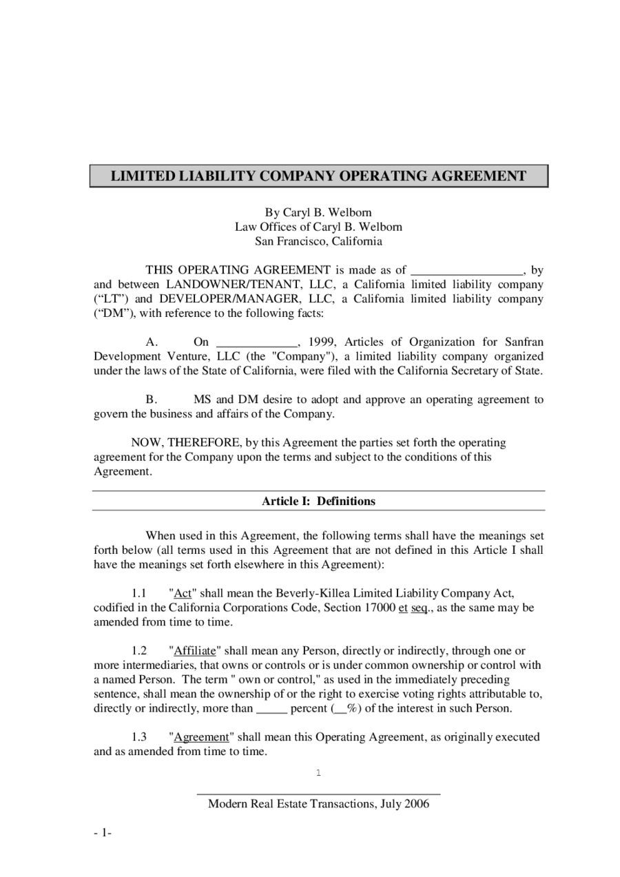 An llc operating agreement, also known as an operating agreement or llc agreement, is: Limited Liability Company Operating Agreement Template Edit Fill Sign Online Handypdf