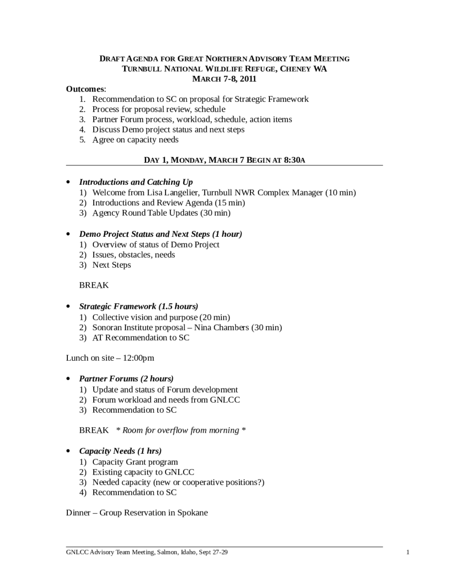 Draft Meeting Agenda