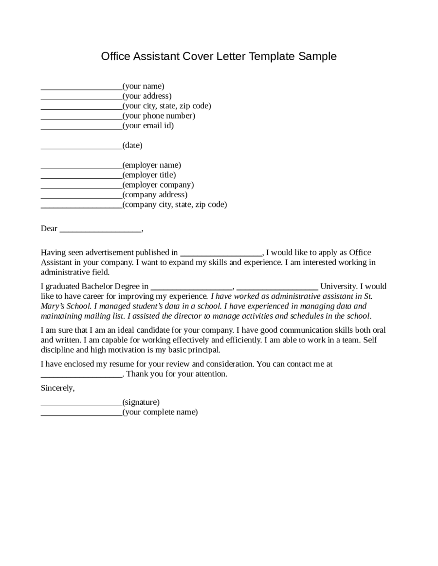 2019 Office Assistant Cover Letter  Fillable Printable PDF  Forms  Handypdf