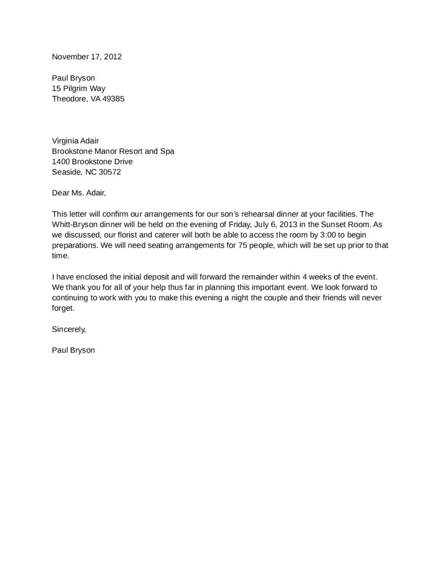 Formal Confirmation Letter