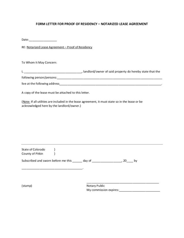 2020 Proof Of Residency Letter