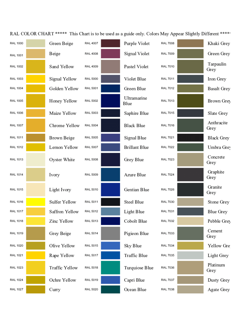 Ral Farben Hex