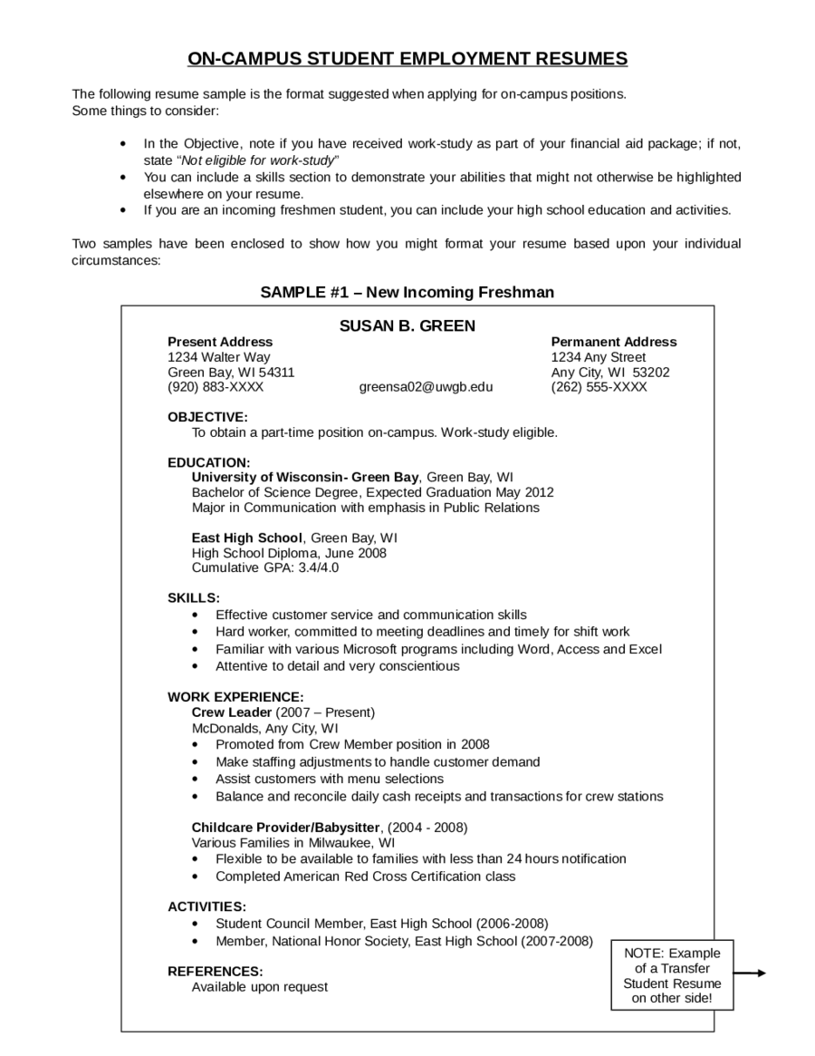 Sample Resume Objectives For Students 2019 Resume Objective Examples Fillable Printable Pdf Forms