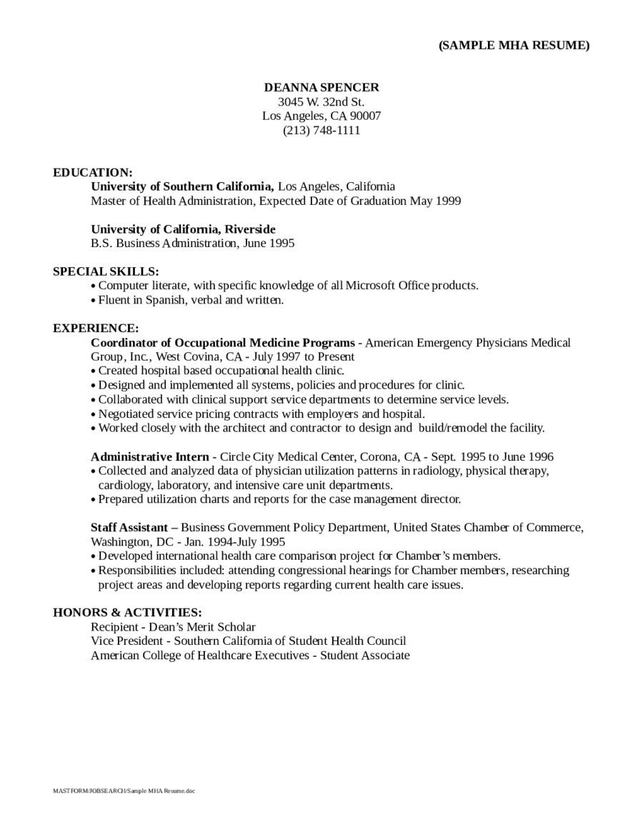 resume objective examples pdf