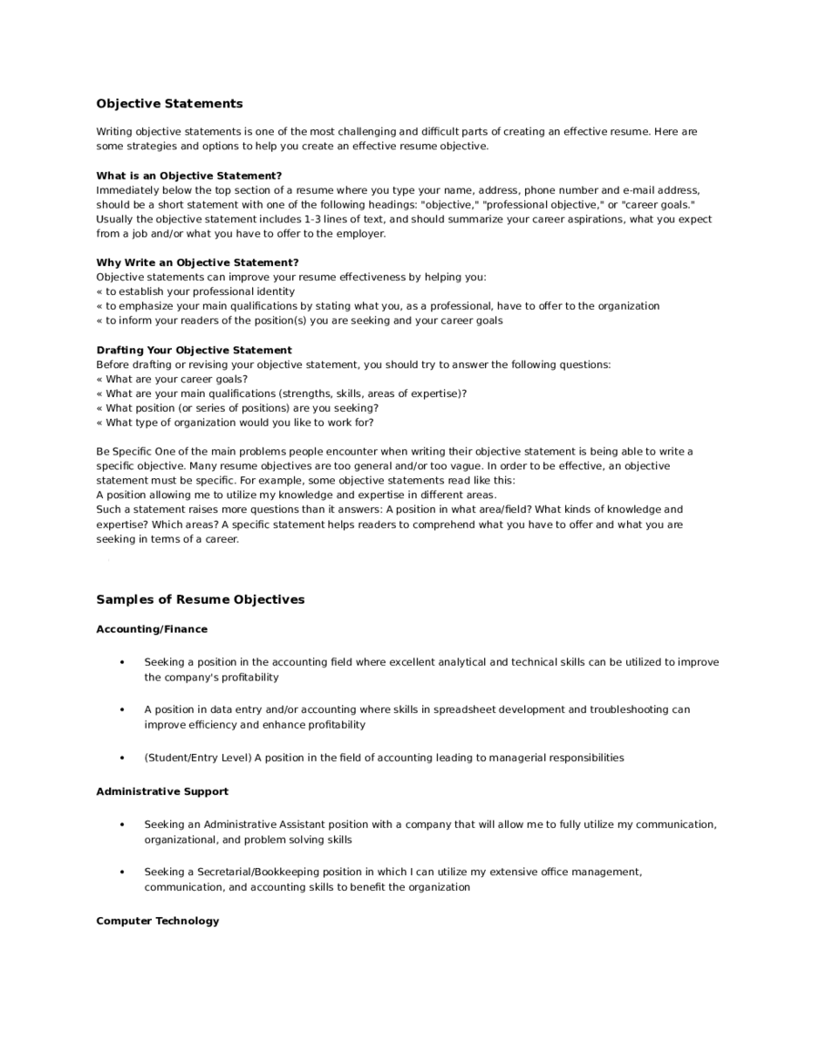Objective In Resume For It 2019 Resume Objective Examples Fillable Printable Pdf Forms