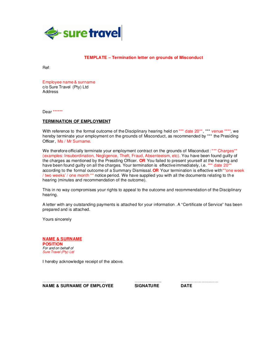 Termination Letter Templates on grounds of Misconduct - Edit, Fill ...