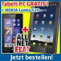 Nokia Lumia 520 + Tablet + AllNet Flat nur 19.90€ mtl