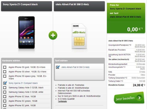Xperia Z1 oder Galaxy S4 + AllNet Flat nur 24.99€ mtl