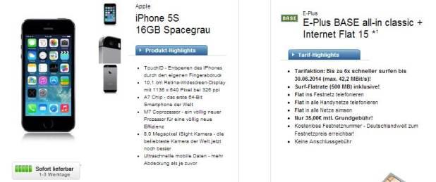 iPhone 5S + E-Plus BASE all-in classic nur 35€ mtl