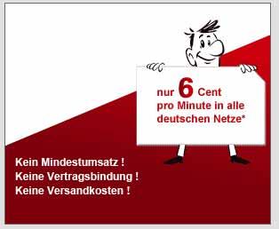 Prepaid im eplus Netz - 6 Cent/Min 10 Cent/SMS