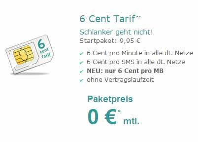 Prepaid: pro Minute und SMS nur 6 Cent