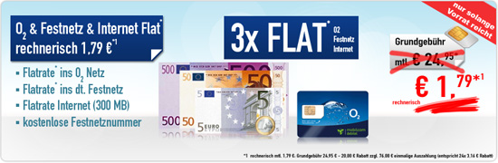 o2 Flatrate & Festnetz Flat & Homezone, nur 1.79€ mtl