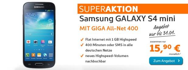 Galaxy S4 mini + AllNet 400 + Internet Flat 1GB nur 15.90€ mtl