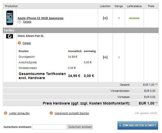 iPhone 5s + Allnet Flat im D-Netz nur 34.99€ mtl
