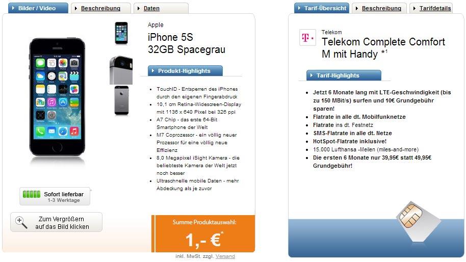 iPhone 5S 64GB + Telekom Comfort M 39.95€ mtl