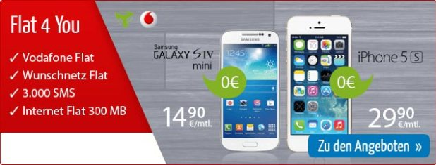 Vodafone Flat 4 You mit Galaxy S4 mini 14.90€ mtl