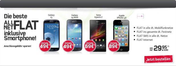 Telekom: AllNet + SMS + Internet -Flat + Handy 29.99€ mtl