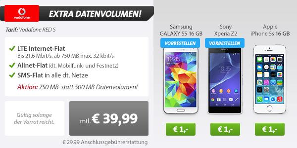 Samsung Galaxy S5 white + Vodafone RED S