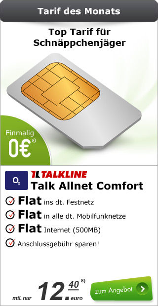 Talkline o2 Talk Allnet comfort 12.40€ mtl