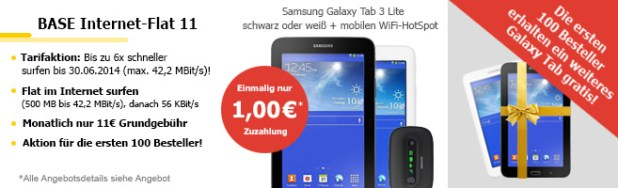 Galaxy Tab 3 + Galaxy Tab 3 + Internet Flat 11€ mtl