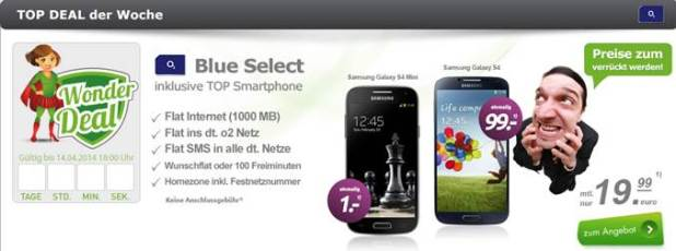 o2 Blue Select + Smartphone 19.99€ mtl