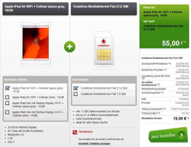 Apple iPad Air WiFi + Cellular Vodafone 19.99€ mtl