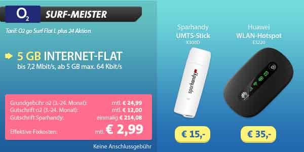 o2 go Surf Flat L 5GB nur 2.99€ mtl