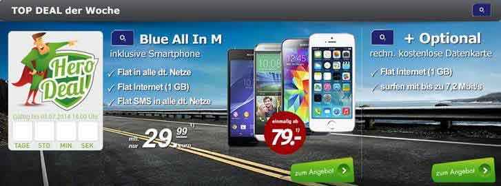 o2 Blue All in M inkl kostenloser Datenkarte + Smartphone