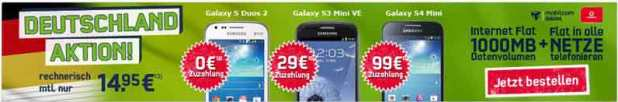 Vodafone Allnet Flat + 1GB nur 14.95€ mtl