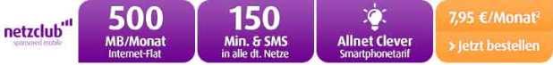 500 MB Datenvolumen + 150 Min + 150 SMS nur 7.95€