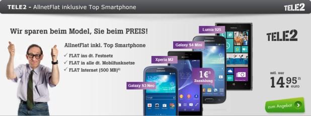Allnet Sparaktion + Smartphone 14.95€ mtl