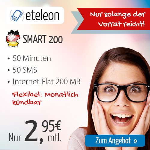 50 Min AllNet + 50 SMS + Internet Flat nur 2.95€ mtl