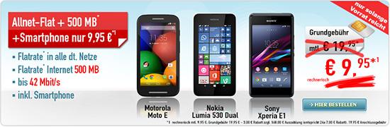 Smartphone + Allnet-Flat nur 9.95€ mtl