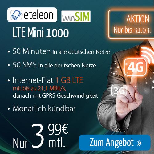 LTE Mini 1000 mit 1 GB Daten und 50 Min/SMS nur 3,99€ mtl