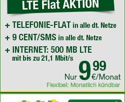 Allnet-Flat mit 500 MB LTE - nur 9.99€ mtl.