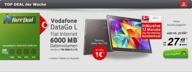 Samsung Galaxy Tab S 10.5 LTE + 6 GB Datenflatrate für nur 27.99 Euro monatlich.