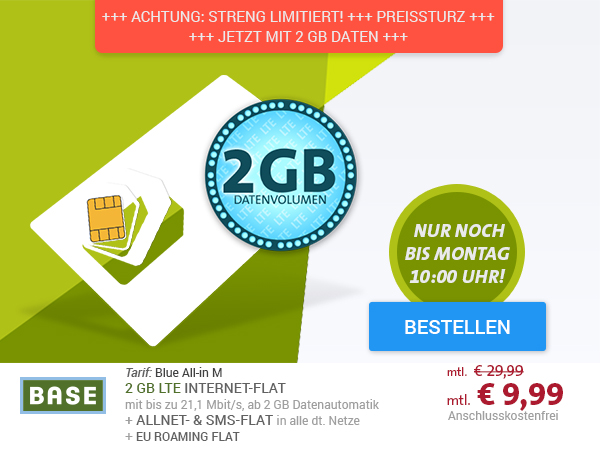BASE Blue All-in M SIM-Only mit EU Roaming-Flat nur € 9,99 mtl.