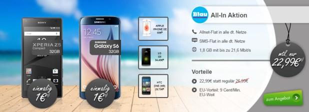 Blau Allnet 1,8GB mit Sony Z5 Compact für monatlich nur 22,99 Euro. Das Sony Z5 Compact gibt es für 1 Euro, das normale Z5 für einmalig 59 Euro.