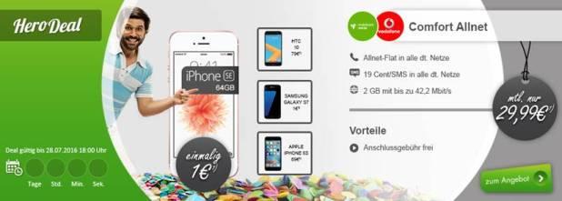 Apple iPhone SE 64GB + Allnet + 2 GB im D2 Netz nur 29.99€ mtl