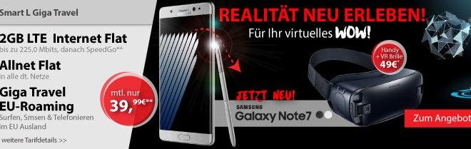Galaxy Note 7 + Gear VR Brille + Allnet + 2GB LTE + EU nur 39,99€ mtl.